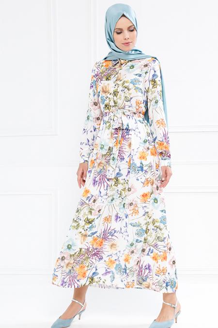 Refka Ekru Çiçekli Elbise