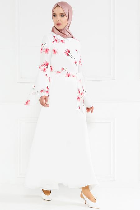 Refka Ekru Desenli Elbise