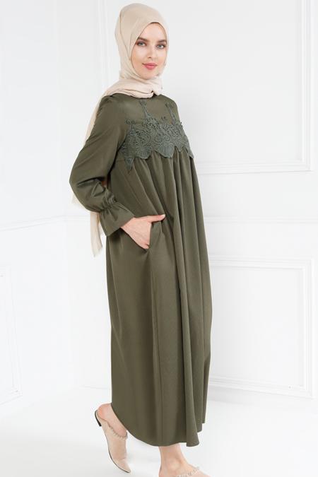 Refka Haki Güpür Detaylı Elbise