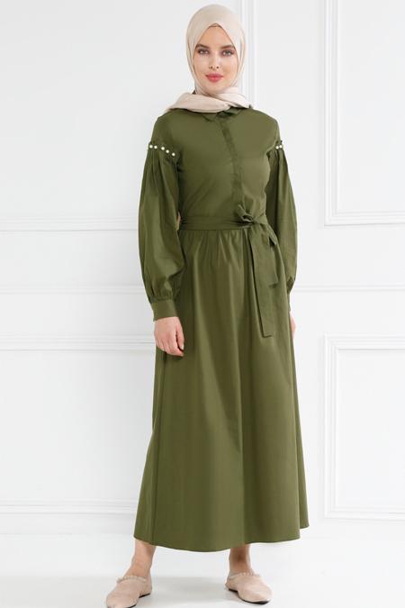 Refka Haki İnci Detaylı Gizli Düğmeli Elbise