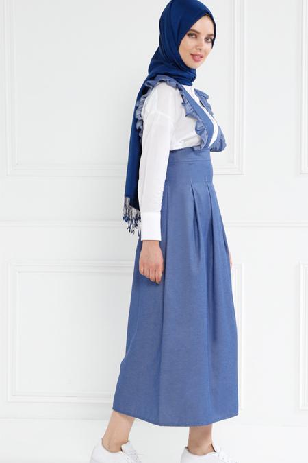 Refka İndigo Salopet Elbise