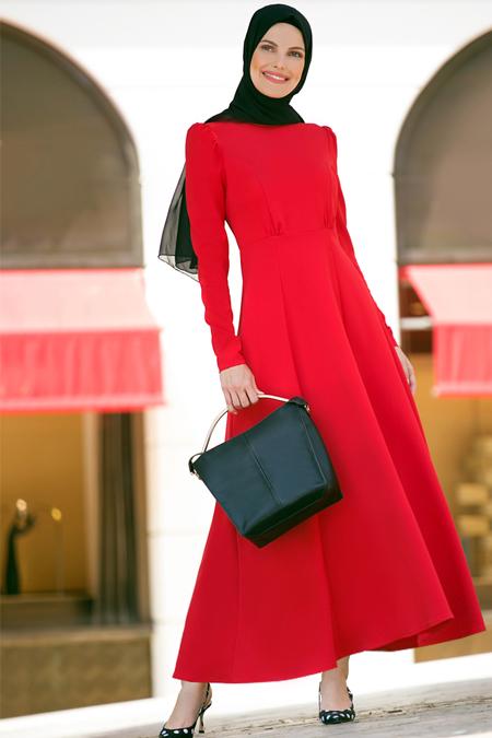 Refka Kırmızı Balıkçı Yaka Elbise