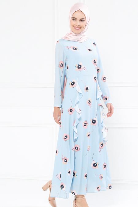 Refka Mavi Volan Detaylı Çiçekli Elbise