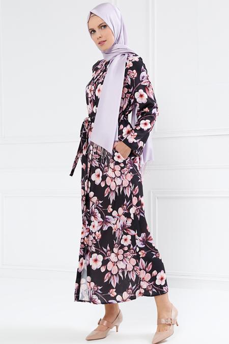 Refka Mor Boydan Gizli Düğmeli Çiçekli Elbise