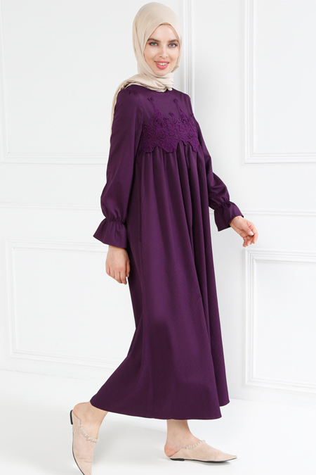 Refka Mürdüm Güpür Detaylı Elbise