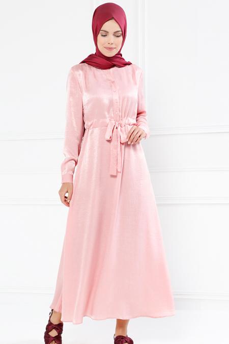Refka Pembe Beli Bağcıklı Elbise