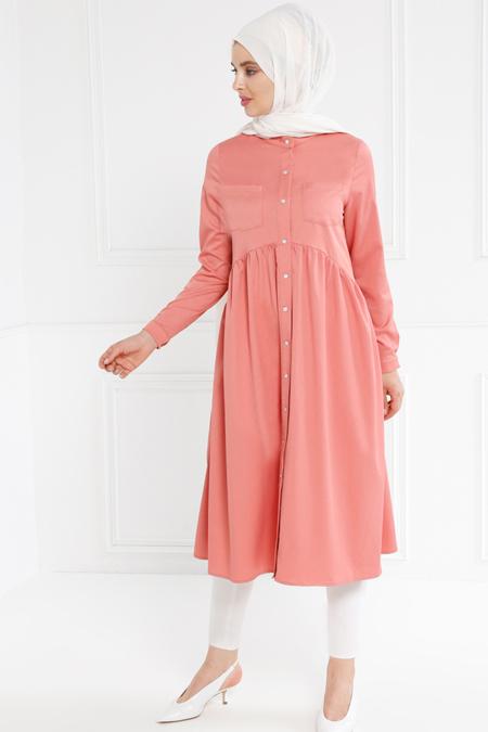 Refka Pudra Güpür Detaylı Elbise