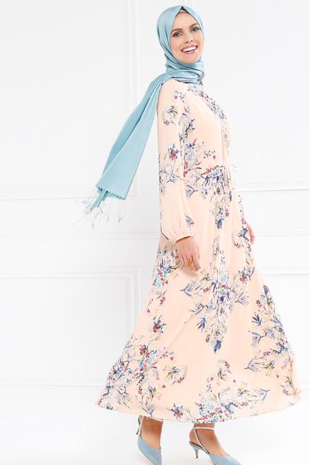 Refka Somon Çiçek Desenli Elbise