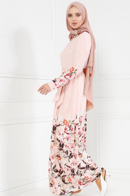 Refka Somon Desenli Elbise