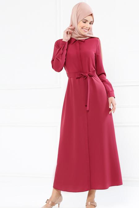 Refka Vişne Boydan Gizli Düğmeli Elbise