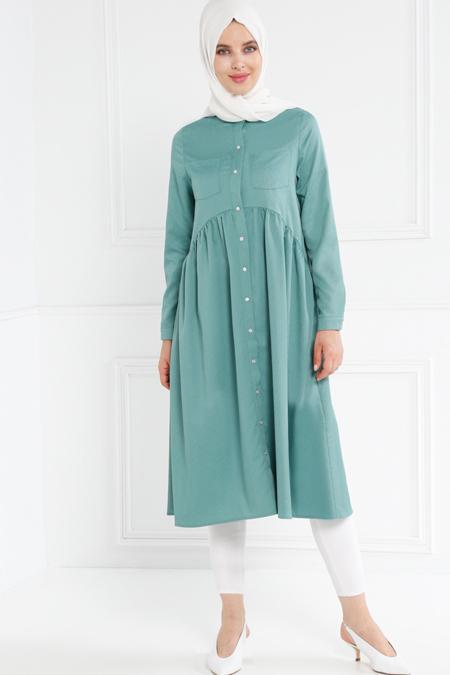 Refka Yeşil Güpür Detaylı Elbise