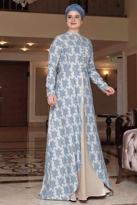 Saliha Büyük Beden İndigo Afra Brokar Abiye Elbise