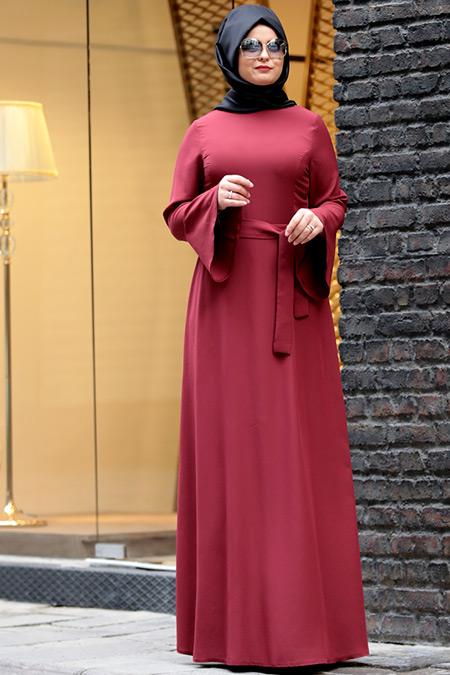 Saliha Büyük Beden Bordo Volanlı Elbise