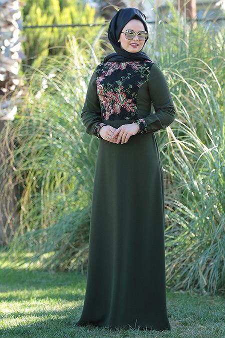 Saliha Büyük Beden Haki Dantel Detaylı Elbise