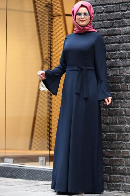 Saliha Büyük Beden Lacivert Volanlı Elbise