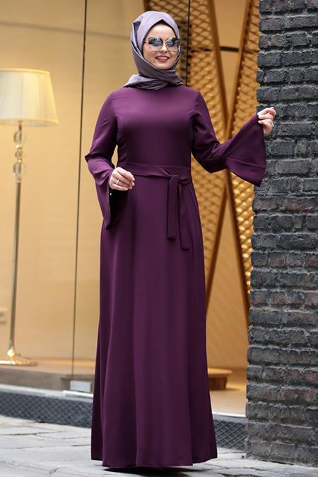 Saliha Büyük Beden Mürdüm Volanlı Elbise