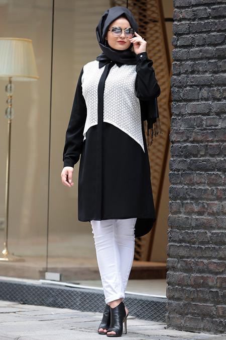 Saliha Büyük Beden Siyah Beyaz Lace Tunik
