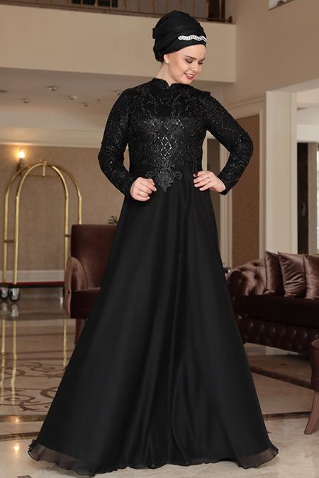 Saliha Büyük Beden Siyah Dila Abiye Elbise