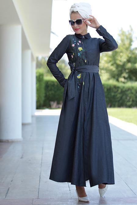 Selma Sarı Design Antrasit Lina Nakışlı Elbise