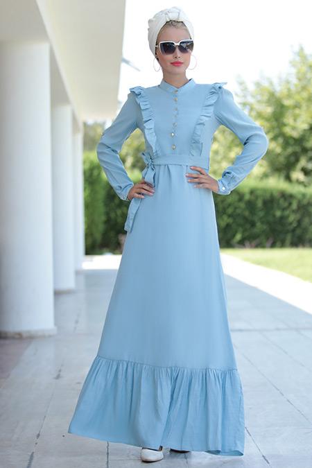 Selma Sarı Design Bebe Mavi Fırfırlı Elbise
