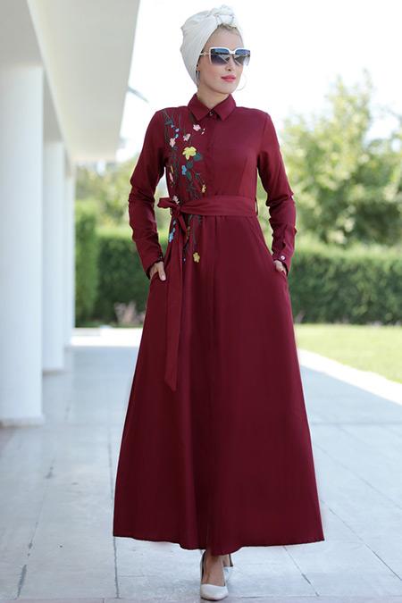 Selma Sarı Design Bordo Lina Nakışlı Elbise