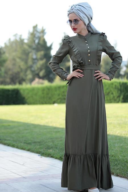 Selma Sarı Design Haki Fırfırlı Elbise