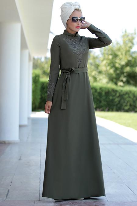 Selma Sarı Design Haki Taşlı Elbise
