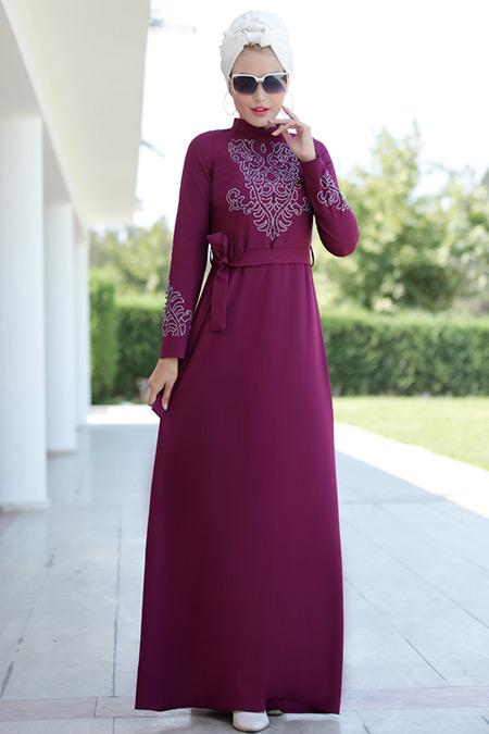 Selma Sarı Design Mürdüm Mira Elbise