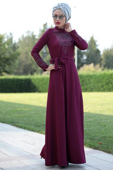 Selma Sarı Design Mürdüm Taşlı Elbise