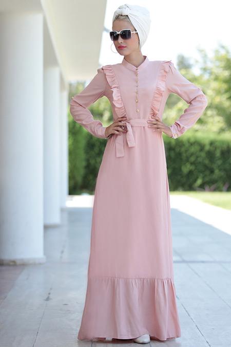 Selma Sarı Design Pudra Fırfırlı Elbise