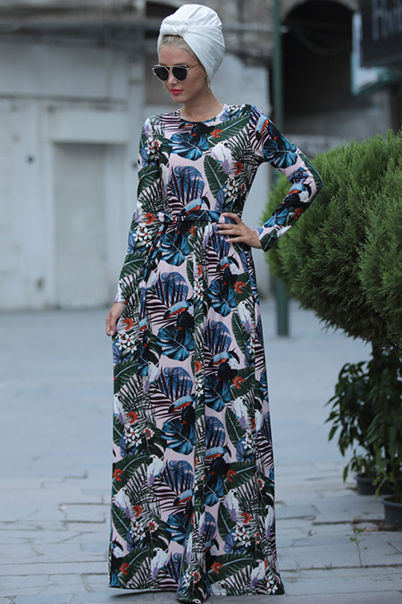 Selma Sarı Design Pudra Mavi Yasmin Elbise