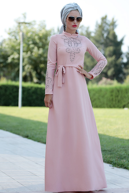 Selma Sarı Design Pudra Taşlı Elbise