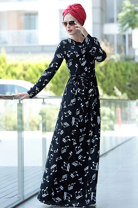 Selma Sarı Design Siyah Beyaz Burcu Elbise