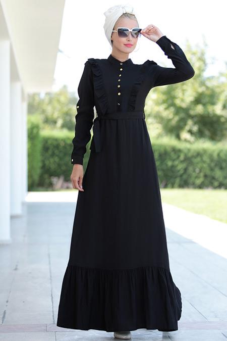 Selma Sarı Design Siyah Fırfırlı Elbise