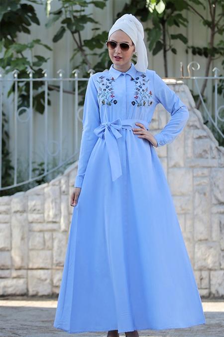 Selma Sarı Design Bebe Mavi Nakış İşlemeli Ebru Elbise