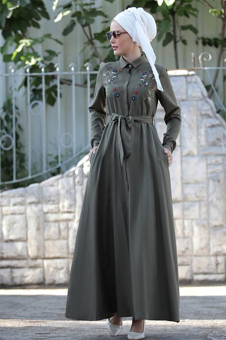 Selma Sarı Design Haki Nakış İşlemeli Ebru Elbise
