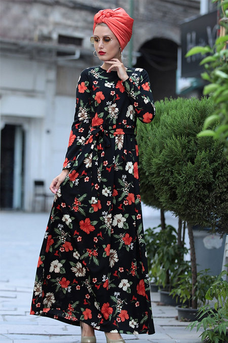 Selma Sarı Design Siyah Kiremit Gonca Elbise