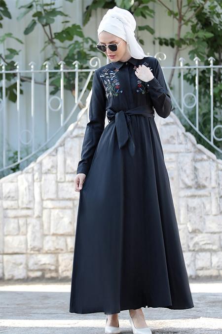Selma Sarı Design Siyah Nakış İşlemeli Ebru Elbise