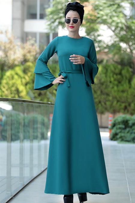 Selma Sarı Design Yeşil Volanlı Işık Elbise