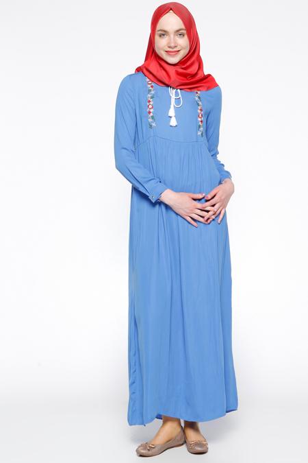 Tuncay İndigo Nakış Detaylı Elbise