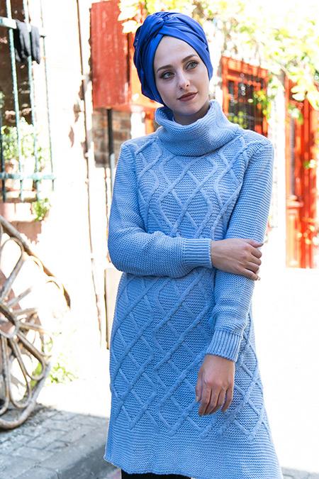 İnşirah Bebe Mavi Triko Tunik