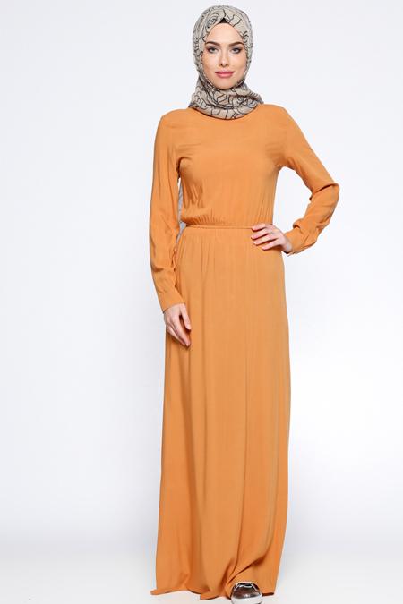 Appleline Hardal Beli Lastikli Elbise