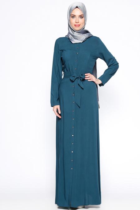 Appleline Petrol Düğmeli Elbise
