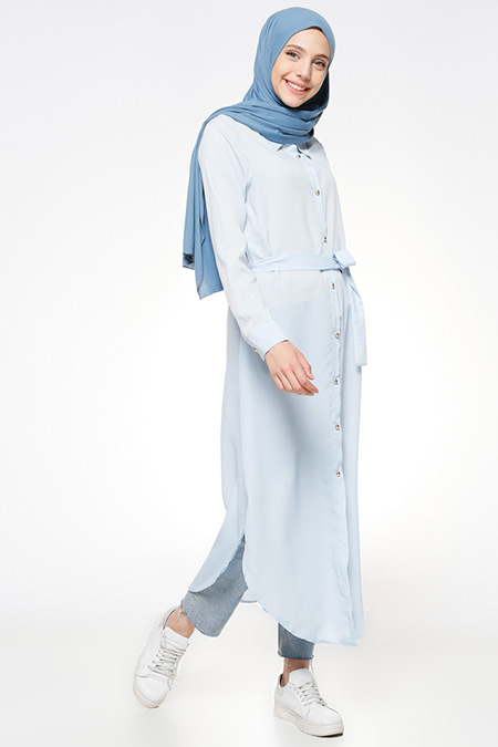 Beha Tesettür Bebe Mavi Düğmeli Tunik