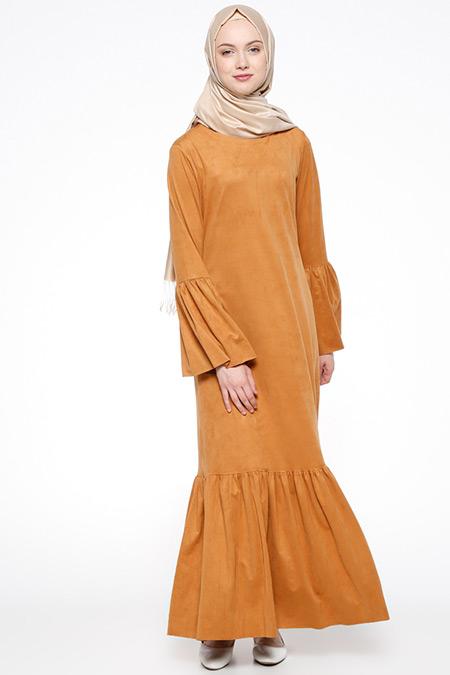 Beha Tesettür Camel Süet Elbise