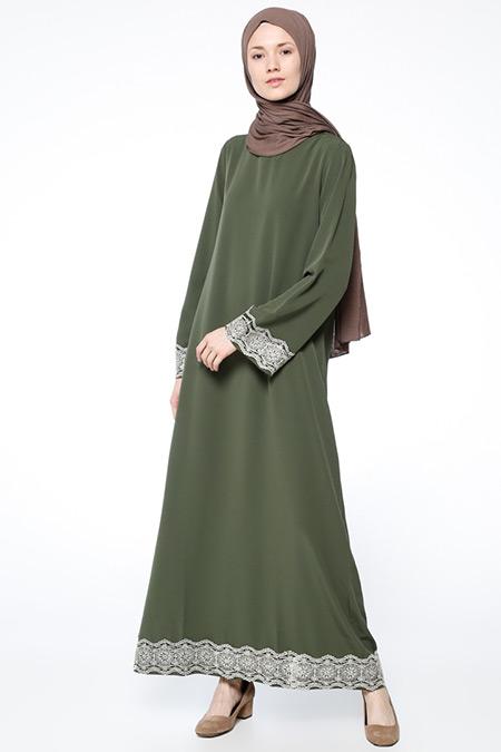 Beha Tesettür Haki Dantel Detaylı Elbise