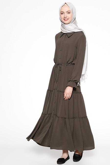 Beha Tesettür Koyu Haki Düğmeli Elbise