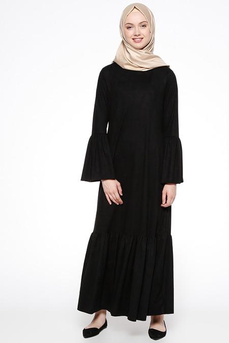 Beha Tesettür Siyah Süet Elbise