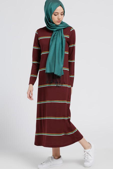 Benin Bordo Doğal Kumaşlı Çizgili Elbise