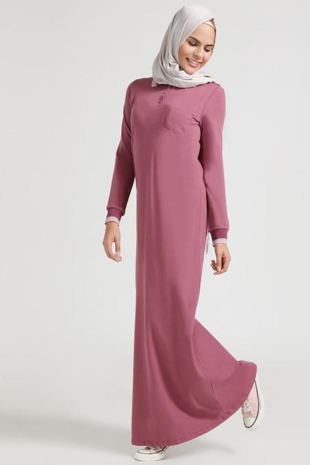 Benin Mürdüm Gri Doğal Kumaşlı Düğme Detaylı Elbise